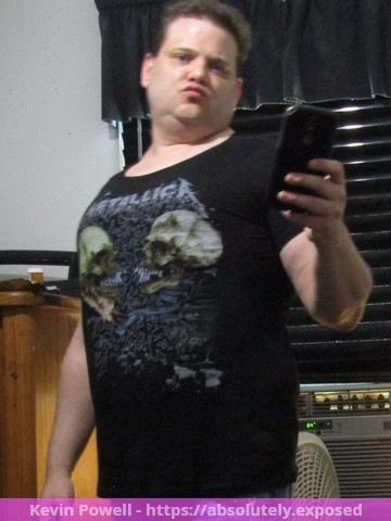 Kevin William Powell wearing female metallica t shirt and female jeans